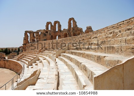 Ruin of Roman Colosseum in El-Jem, Tunisia (UNESCO World Heritage) - stock photo