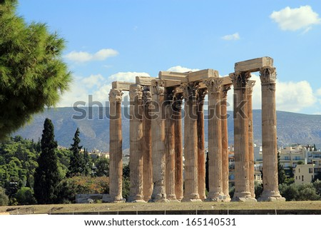 Ruin of Temple Olympian Zeus in Athens, Greece