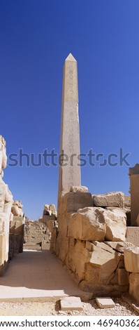 Ruin of the Karnak Temple Complex. Column with hieroglyph. Panorama. Luxor, Egypt