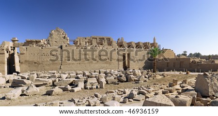 Ruin of the Karnak Temple Complex. Panorama. Luxor, Egypt