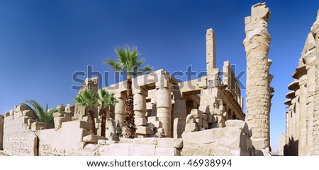 Ruin of the Karnak Temple Complex. Pillars of the Great Hypostyle Hall. Luxor, Egypt