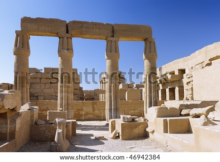 Ruin of the Karnak Temple Complex. Pillars . Panorama.  Luxor, Egypt