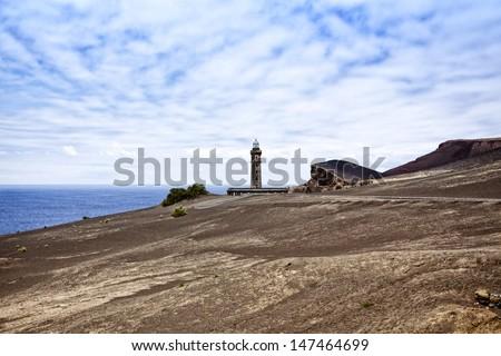 Ruin of the lighthouse at Ponta dos Capelinhos, Faial, Azores - stock photo