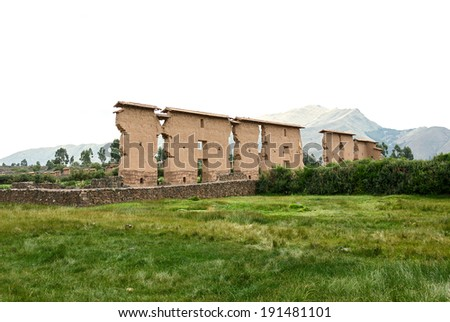 Ruin of the Temple of Wiracocha Raqchi. Temple of Viracocha at Chacha - Peru, South America - stock photo