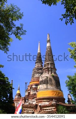 Ruin pagoda in the temple of Ayuttaya Thailand. - stock photo