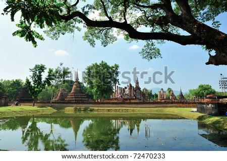 Ruin temple in Sukhothai - stock photo