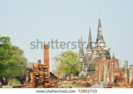 ruin temple wat phra sri sanphet ayutthaya thailand - stock photo