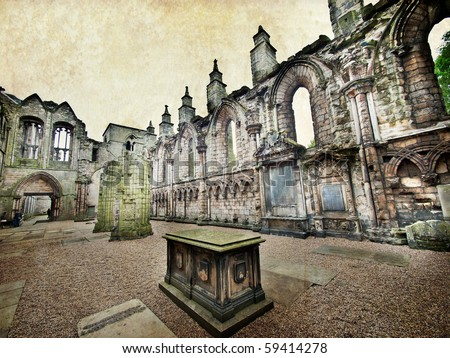 Ruined abbey in Palace of Holyroodhouse Edinburgh Scotland, artistic version