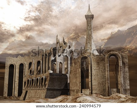 Ruined ancient city in the mountains - stock photo