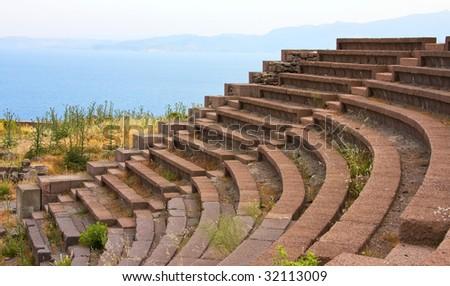 Ruined ancient theater near Assos, Turkey - stock photo