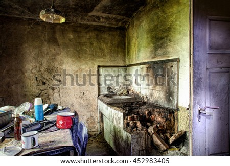 Ruined And Abandoned Kitchen, Mixed Available And Artificial Light - stock photo