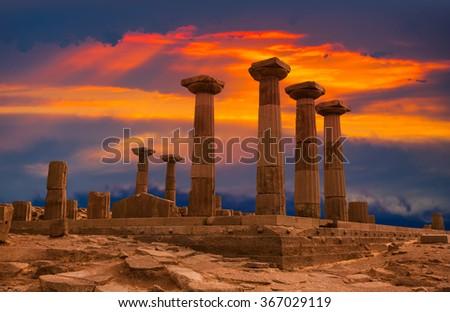 Ruined Athena Temple in Assos, Turkey - stock photo