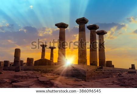 Ruined Athena Temple in Assos, Turkey - stock photo