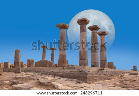 "Ruined Athena Temple in Assos, Turkey ""Elements of this image furnished by NASA ""  - stock photo"