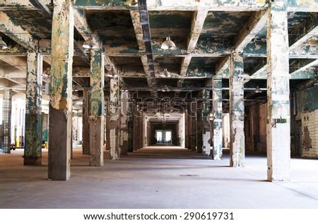 ruined building interior - stock photo