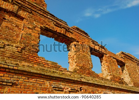 ruined building made of red bricks
