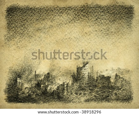 Ruined city. Pencil on paper. - stock photo