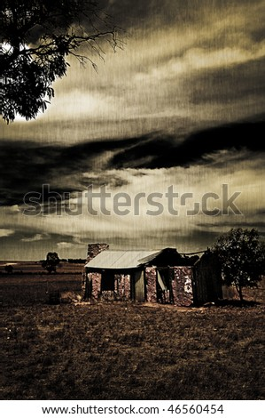 Ruined farmhouse treated with a grunge effect to create a moody picture. - stock photo