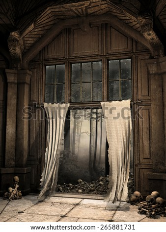 Ruined hallway with tattered curtains, skulls and bones - stock photo