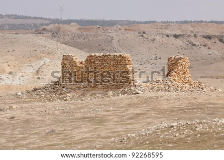 Ruined house in a desert