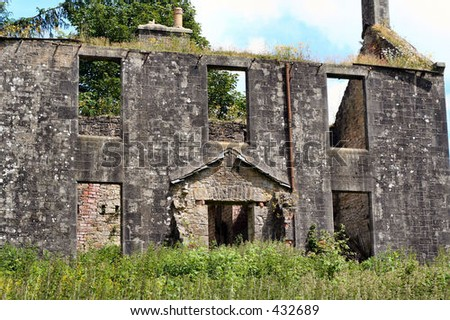 Ruined house in the Scottish Borders, UK - stock photo