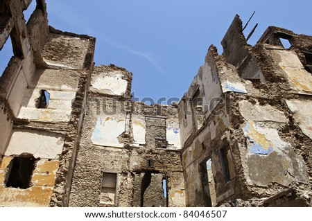 ruined houses - stock photo