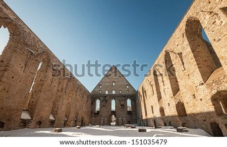 Ruined interior of St. Brigitta convent in Pirita area, Tallinn, Estonia - stock photo