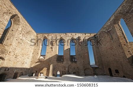 Ruined interior of St. Brigitta convent in Pirita region, Tallinn, Estonia - stock photo