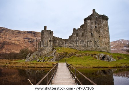 Ruined Kilchurn Castle near Dalmally, Scotland - stock photo