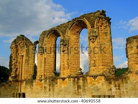 Ruined Monastery in Yorkshire, England - stock photo