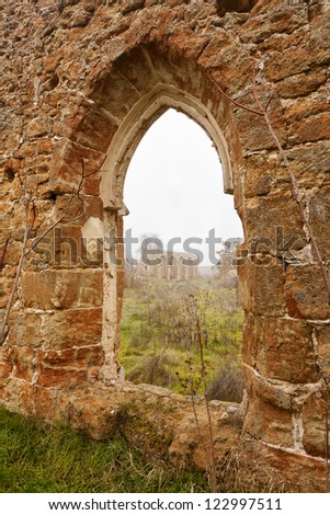 Ruined monastery window. Aniago Monastery. Spain.