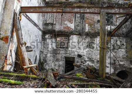 ruined old house - stock photo