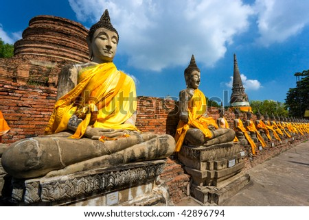 Ruined Old Temple of Ayutthaya, Thailand, - stock photo