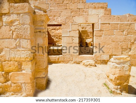 Ruined palace in the old city of Mamshit (Memphis) in Negev desert, Israel - stock photo