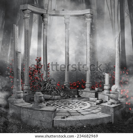 Ruined rotunda in a dark forest with red rose vines - stock photo