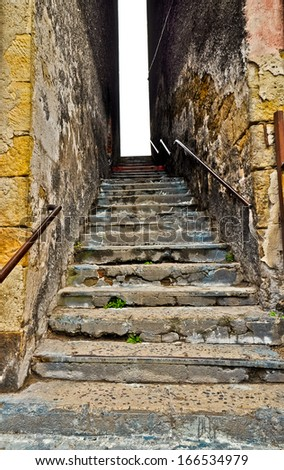 Ruined staircase - shanty town. Poland. - stock photo