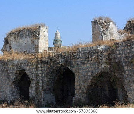 ruined temple in the holy land - stock photo