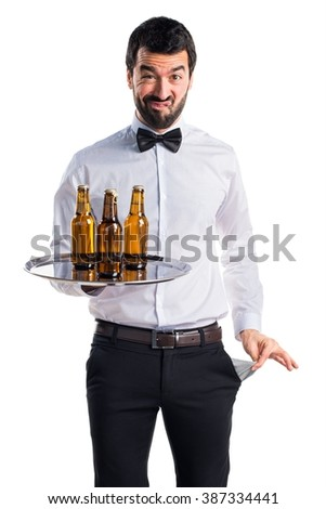 Ruined waiter looking money in their pockets