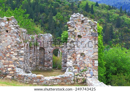 Ruined walls covered with green vegetation inside Byzantine city of Mystras, Greece - stock photo