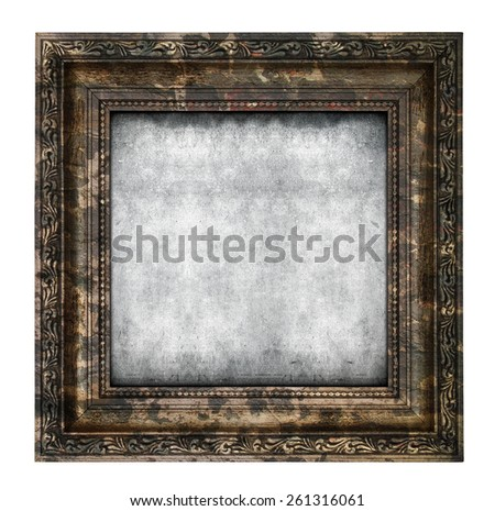 Ruined wooden frame isolated on white background