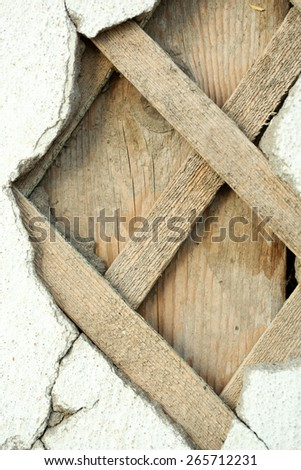Ruined wooden wall background - stock photo