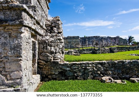 Ruinenstaette Maya in Mexico - stock photo
