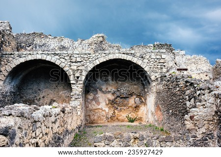 Ruins after the eruption of Vesuvius in Pompeii, Italy - stock photo