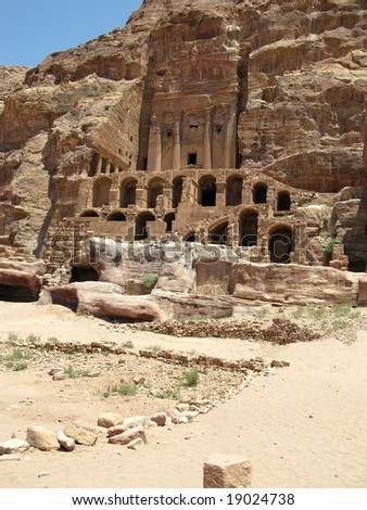 Ruins and mountains of Petra, Jordan, Middle east - stock photo