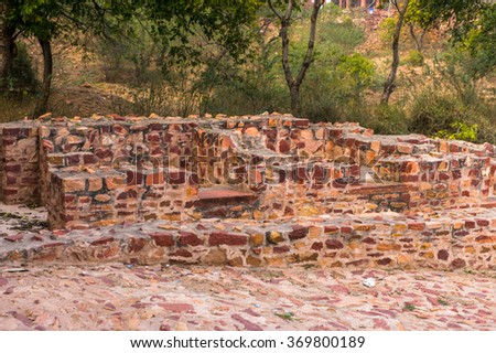 Ruins around the Fatehpur Sikri, a city in the Agra District of Uttar Pradesh, India. UNESCO World Heritage site. - stock photo