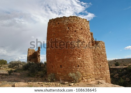 Ruins at Hovenweep National Monument. Once home to over 2,500 people, Hovenweep includes six prehistoric villages built between A.D. 1200 and 1300. - stock photo