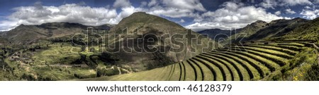 Ruins at Pisac in Peru's Sacred Valley - stock photo