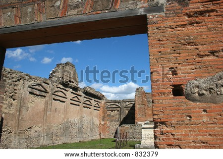 Ruins at Pompeii, Italy.  Date back to 79 AD. - stock photo