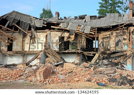 Ruins, can be used as demolition, earthquake, bomb, terrorist attack or natural disaster concept. - stock photo