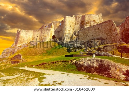ruins castle sunset - stock photo